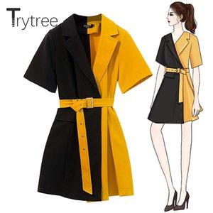 Casual Trytree otoño del verano vestido de las mujeres con muesca de cuello amarillo remiendo Cinturón Negro Oficina Dama Vestidos Poliéster una línea de vestido