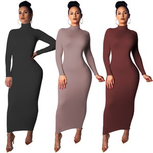Autumn And Winter New Large Size Women's Clothing 2020 Casual Fashion Long-sleeved High Collar Dress