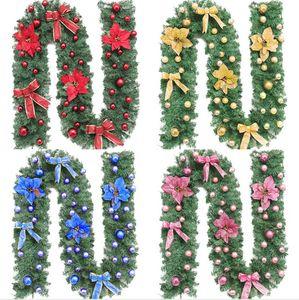 Noel Rattan 270cm Orjinal Yeşil Noel Garland Partisi Dekorasyon Mutlu Noeller Rattan Cane Noel Çelenk Ev Yard Dekor LJJP293