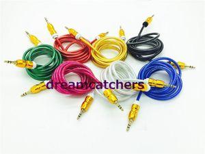 1 .5m Crytal trenzada tejida Cable de audio estéreo 3 0,5 Mm extendido auxiliar AUX macho a macho Cable de cucurbitáceas para Iphone 6s Samsung S6 HTC Mp3