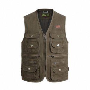 Automne Homme multi poche Tissu Gilet coton pour hommes tactique Masculine extérieur photographe Reporter Waistcoat manches Veste tan6 #