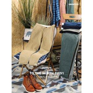 SIMWOOD 2020 sonbahar kış yeni pantolon erkek pamuklu dimi Chinos slim fit klasik enzim yıkama pantolon SJ130875 konik