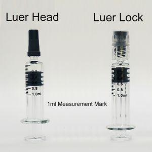 1ml Pyrex vetro siringhe Luer capo Luer Lock iniettore chiare Serbatoi Cartucce con misurazione marchio punta vuota vaporizzatore olio Vape Pen 100 / lot