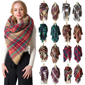40 Colors 140*140cm Autumn and winter fake cashmere double-sided colorful plaid scarf plaid pashmina women's shawl cappa wraps lxj138
