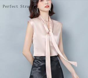 Plus Size M-3XL Elegant Style Loose Cool Bowknot Tie Sleeveless Women Satin Blouse