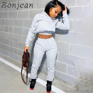 BONJEAN Tuta Donna 2 piece set Abbigliamento casual manica lunga con cappuccio Sport Top Pantaloni della tuta del vestito di sudore jogging