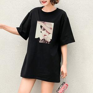 2020 DIY-T-Shirts der Mädchen beiläufige Art und Weise T-Shirts mit einer Dame Muster Mode Einfache Stile mit kurzen Ärmeln Breath Hot Selling Tops