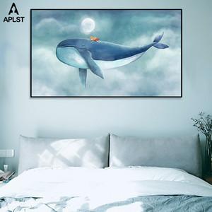 Los niños del bebé del sitio del cuarto impresiones Carteles decoración Flying ballena Niña En El Cielo lienzo de pintura nórdica Pictures Pared decoración del arte