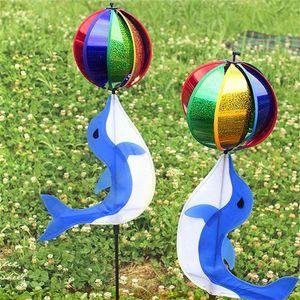 Dolphin bola Molino de viento colorido creativo Pinwheel juguetes al aire libre para el jardín Acampada Decoración de la venta caliente T2I266 LB0j #