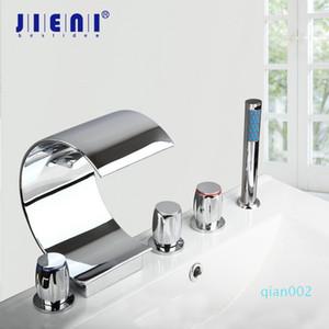 JIENI Solid Brass 5 Pcs Waterfall Gutter Bathroom Bathtub Faucet Set Cover Valve Handheld Shower Deck Mount Chrome Finish