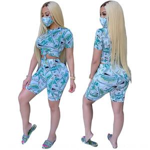 moda pantaloncini casuale di sport delle donne LmpUX YF8490 maschera migliori tre pezzi pantaloni tuta superiore del vestito pantaloni SET SET