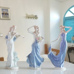 Europe Ceramic Beauty Figurines Furnishing Crafts Home Decoration Accessories Western Porcelain Decor Ornament Wedding Gift T200330