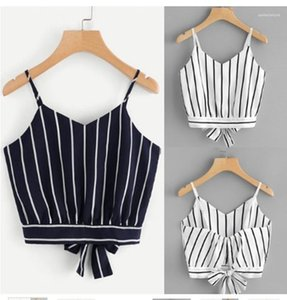 Summer Designer Spaghetti Strap Bow Sexy Tees Females Fashion Casual Backless Tops Womens Striped Print V Neck Vest