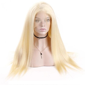 A #613 Blonde Full Lace Human Hair Wigs 613 Blonde Lace Frontal Human Hair Wigs Brazilian Virgin Straight Hair Transparent Lace Frontal