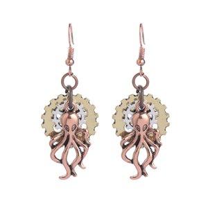 Rose Gold Plated Women Earrings 2017 Original Steampunk Bijoux Personalized Gears Octopus Long Chandelier Earrings For Sale