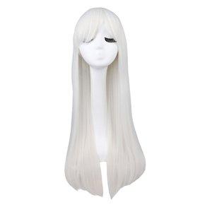 Длинный прямой парик Cosplay Черный Фиолетовый Розовый Синий Щепка Серый Белый Белый Оранжевый Коричневый 80 Cm Синтетические парики волос