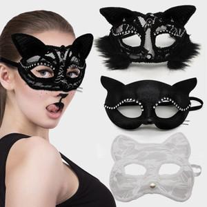 palco cosplay Halloween Metade adereços desempenho máscaras rendas sexy feminino cat animal máscara facial máscara festa de natal Dropshipping F2001