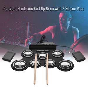 7 Pads Portable Electronic Drum Set Portable electronic roll up drum Silicon pads Kit with Foot Pedals and Drumsticks kids Beginners gift