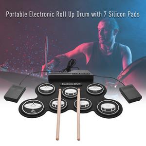7 Pads Tragbare Elektronische Trommel Set Tragbare Elektronische Roll-Up Trommel Silicon Pads Kit mit Fußpedalen und Drumsticks Kinder Anfänger Geschenk