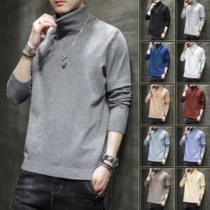 Pull à collier élevé Mens Loose Automne Tendance d'hiver Multi Couleur Solide Tops Mode Brand Pullover M-5XL