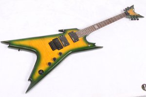 Custom Made Dean DIME Razorback Electric Guitar Yellow Green body Active pickups China Guitars Free Shipping