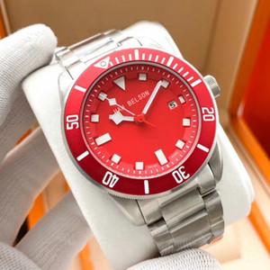LuxuSUHR Otomatik Mekanik Hareketi Erkek İzle Yüksek Kalite Kırmızı Arama Relojes De Lujo Para Hombre 316L Paslanmaz Çelik Kordon