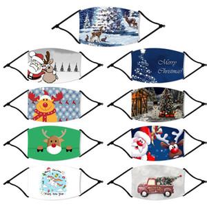 Çocuklar Yetişkin Noel Maskeler Geyik Baskılı Noel Yüz Maskeleri Anti Toz kar tanesi Noel Ağız Kapak Yıkanabilir Tekrar Kullanılabilir ile FY4247 Filtreler