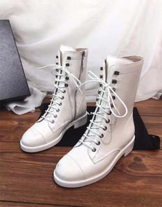 2020 botas del nuevo diseñador CC las mujeres de cuero genuino Botines Mujeres' Martin botas de estilo de la universidad de chicas Zapatos Mujer Mayor impermeable