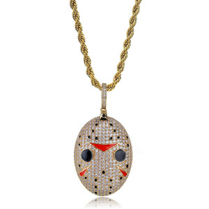 Mens Fashion Gold Necklace Hip Hop Jewelry Designer Mask Pendant Gold Silver Necklaces Iced Out Chain Zircon Punk 18k Gold Plated Chain Men