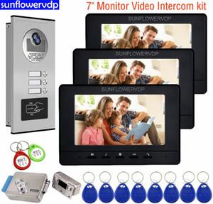 """INTERPHONE caméra Accueil 7"""" Intercom Noir / Blanc Vidéo Interphone Rfid vidéo Sonnette Pour Appartements Maison Intercom + verrouillage"""