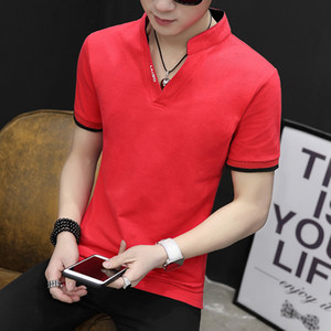 Cotton men's short-sleeved men's shirts, the Korean version of the slim-fitting bottom, V-neck shirts, long-sleeved clothes