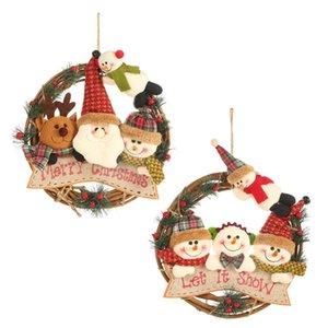 Decoraciones de Navidad Elk Rattan Círculo Colgante Pequeño Rattan trabajo de la guirnalda ornamento Ventana Decoración para el hogar