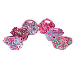 12 Colors Promotional lily Pulitzer Neoprene Lunch Cooler Bags For Food Lunch Box 50pcs Free DHL Lunch Cooler Bags