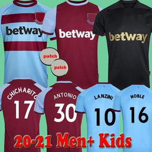 West Hamen Men Kids 20 21 United Soccer Jerseys الثالث بعيدا الأسود Lanzini Chicharito Noble Antonio 2020 2021 قمصان كرة القدم الذكرى 125