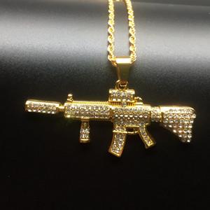Hip hop Rap zircone M4 Carbine a forma di monili degli uomini Mitraglietta Collana della collana alla moda degli uomini della collana di trasporto libero