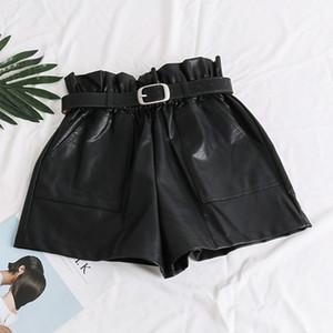 High Waist Elasticity PU Leather Shorts Women Fashion Cool Punk Sashes Short Pants Breathable Fashion Loose Elastic Waist Shorts T200828