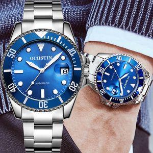 OCHSTIN Mann-Uhr-automatische mechanische Sport-Armee Male Uhr Top Edelstahl Blue Man Armbanduhr 6126