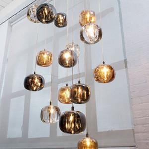 Vetro moderna del LED Lampada a sospensione Apparecchi di illuminazione Nordic Living Room lampada da comodino Loft Cafe Ingresso Bagno Decor Sospese