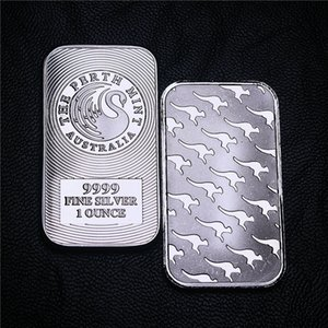 1 Oz Perth Mint plateado Bar Crafts coleccionables de Australia canguro de plata con revestimiento de lingotes envío 5pcs / lot no magnético