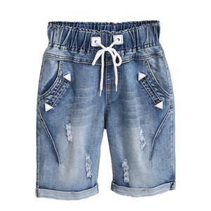 Dreawse mujeres cortocircuitos más el tamaño 5XL Harem verano rasgados pantalones vaqueros cortos ocasionales atan para arriba capris de la pierna ancha pantalones cortos de mezclilla 2417 CX200815