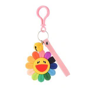 Fashion 2020 Small Daisy Flower Silicone Keyring Cute Wedding Candy Keychain Pendant for Women Bag Jewelry Trinket Mens Car Gift