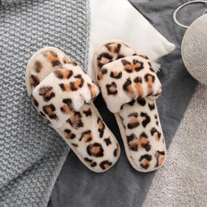 Winter Plush Leopard Home Slipper Thicken Warm Non-slip Womens Shoes Soft Bottom Open Toe Home Sandals