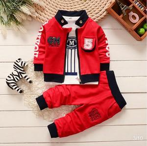 BibiCola Primavera Outono Meninos Vestuário Set Casual dos miúdos do esporte terno infantil Brasão da criança Meninos Roupas Top + Pants Treino Set