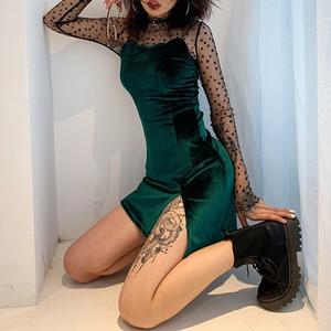 Kadınlar için vu0dV 2019 Kış sticker slingthe-geri dar kesim kalça kaplı bölünmüş elbise etiket Elbise vücut Yeni Sling vücut