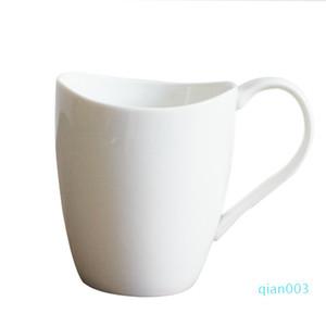 Seramik Pürüzsüz Gülümseme Kupa Saf Beyaz Kahve Kupalar Özgünlük Sadelik Su Bardak Hediye Yüksek Kapasiteli Ekli Sap 6 5myb1