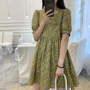 cuadrado del collar de las mujeres florales estilo francés verano 2020 nueva mitad de la longitud elegante de adelgazamiento A-line del vestido de la línea A-