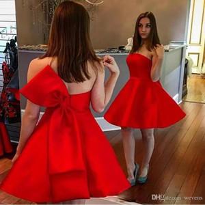 Red A-Line Mini Mini HomeComing платья без бретелек на молнии обратно с бабочковым галстуком выпускным платьем атласные короткие коктейльные платья 2021 вечеринка