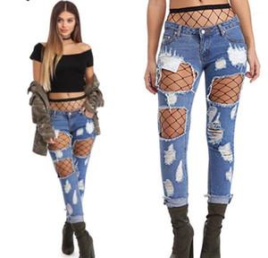 Donne Foro strappato Jeans Capris Nona Lunghezza Denim Blue allentati pantaloni diritti Pantalones Vestidoes Primavera
