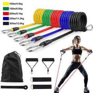 US STOCK 11Pcs / Set Latex-Widerstand-Bänder Crossfit Training Exercise Yoga Tubes Pull Seil Gummi-Expander Elastische Bänder Fitnessgeräte