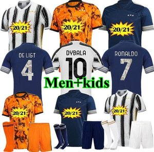Fans Spieler JUVENTUS Fußball-Trikot 2020 2021 Fußballhemden 4. RONALDO DE LIGT 20 21 Dybala RAMSEY JUVE Third weg Uniformen Men + Kids kit